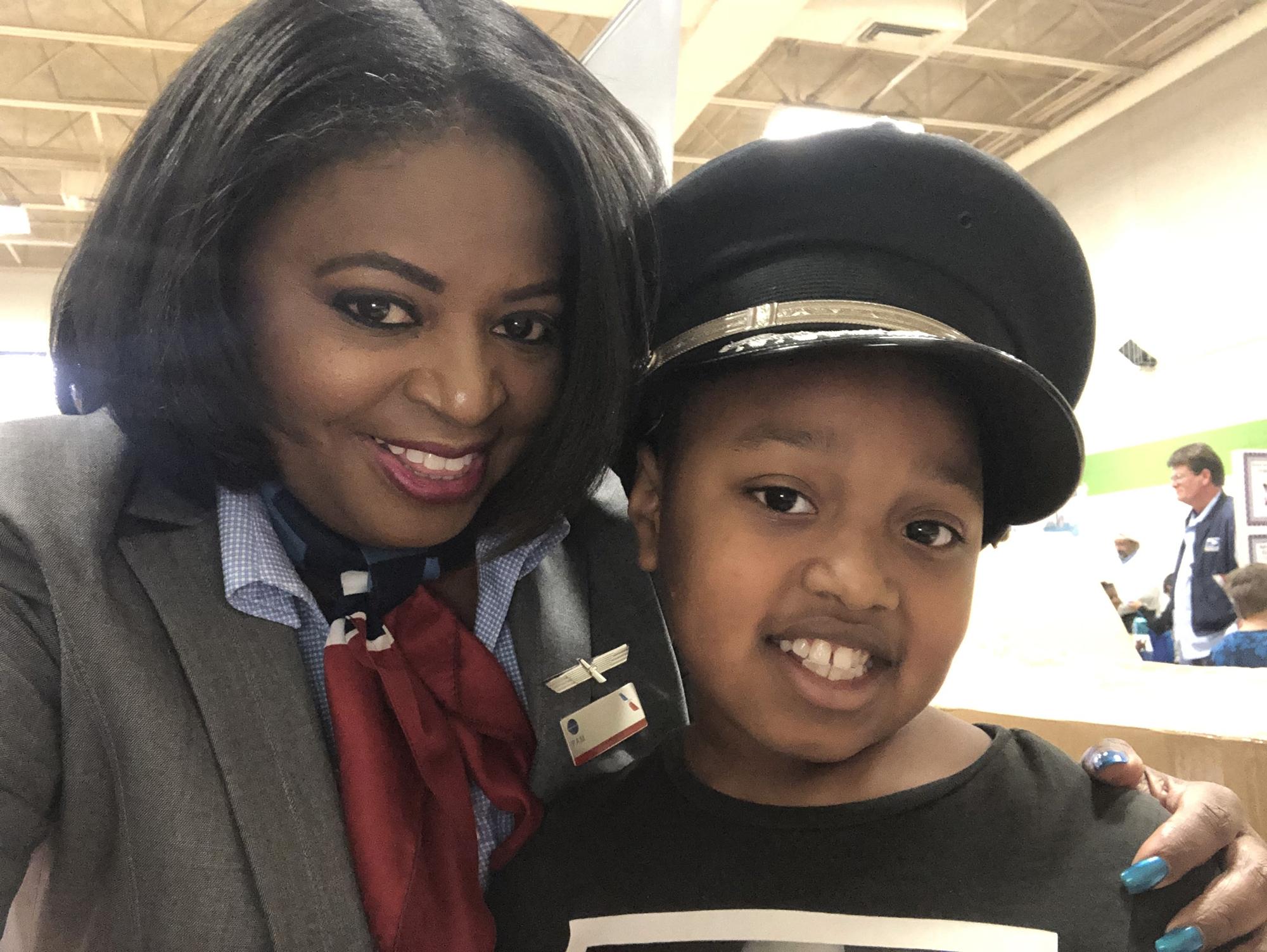 Flight Attendant Pamela Palmer at Oakdale Elementary School in Rock Hill, S.C.