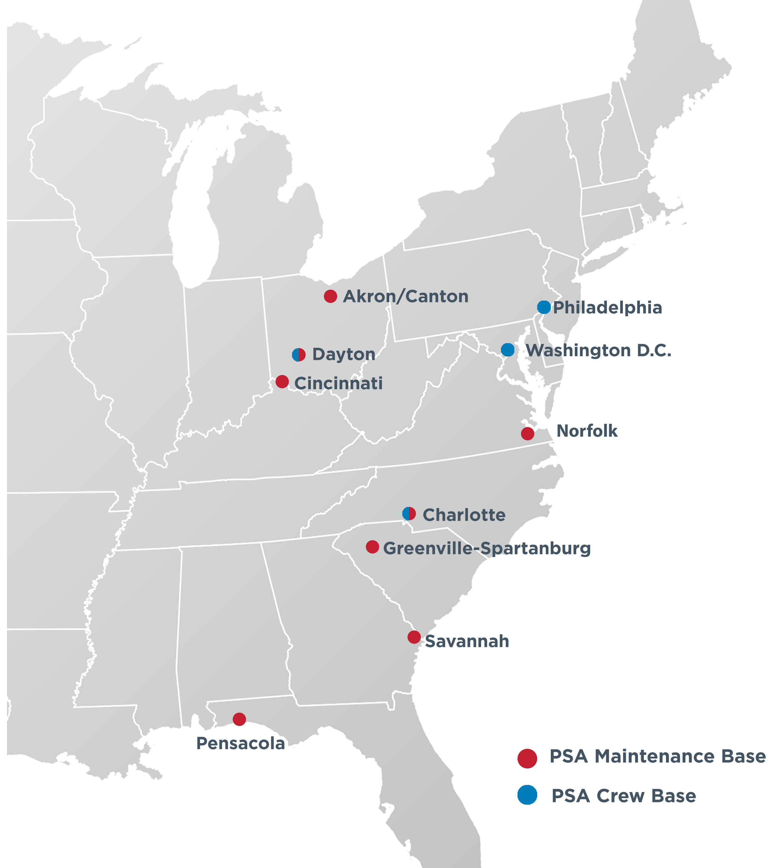 PSA Crew Bases & Maintenance Hubs