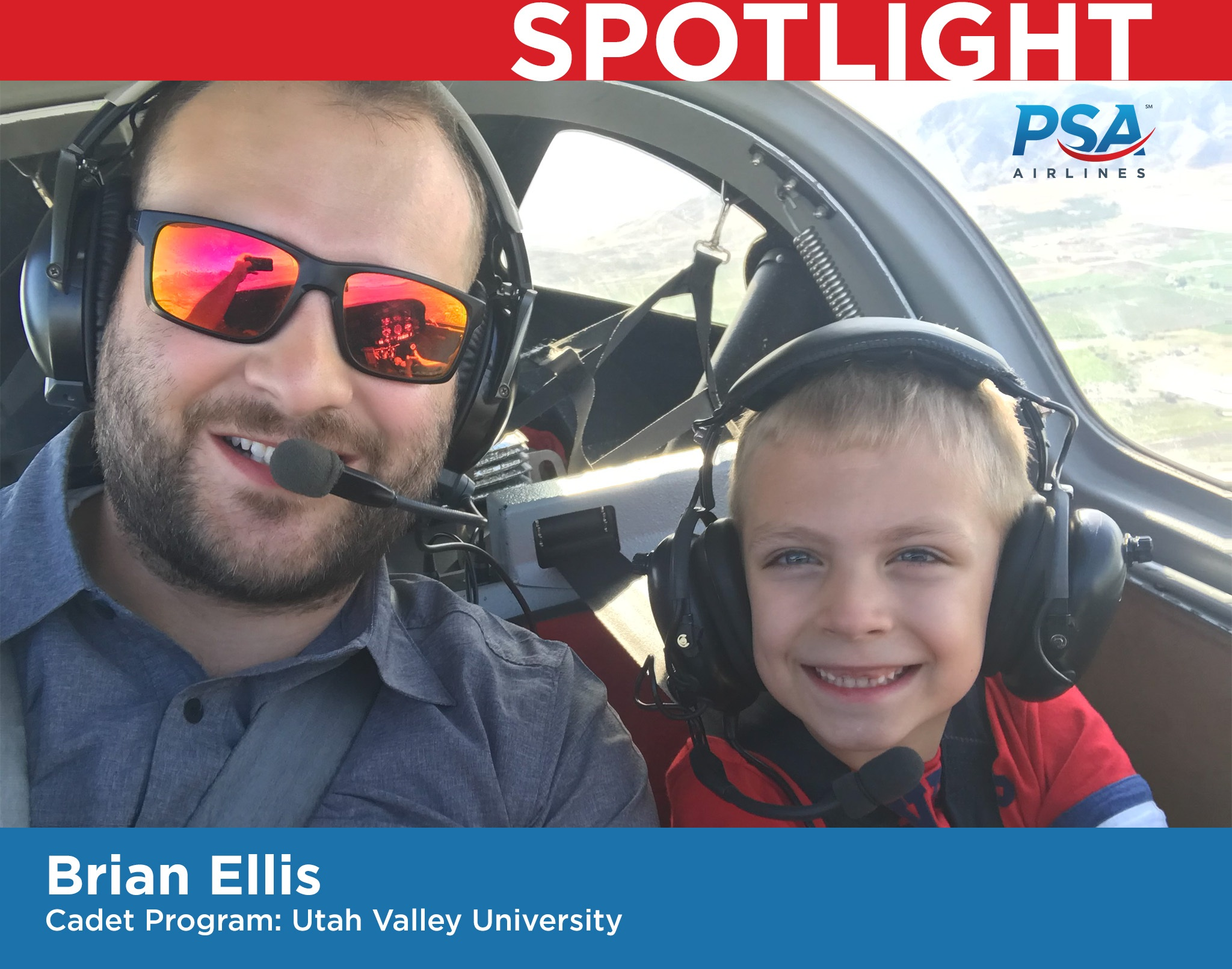 Brian Ellis with son in cockpit of aircraft while flying