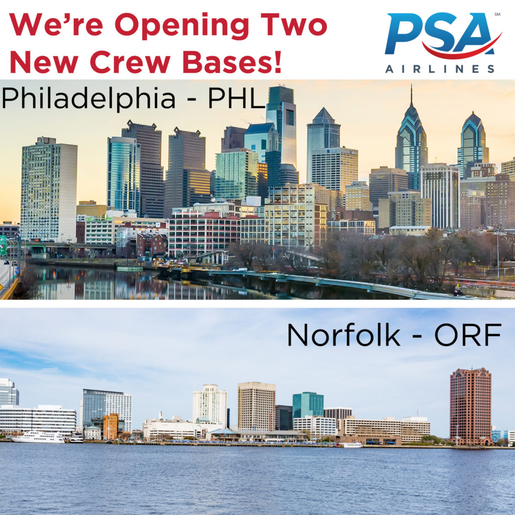PSA Airlines announced today that it plans to open two additional crew bases at Philadelphia International Airport (PHL) and Norfolk International Airport (ORF) in May 2018.