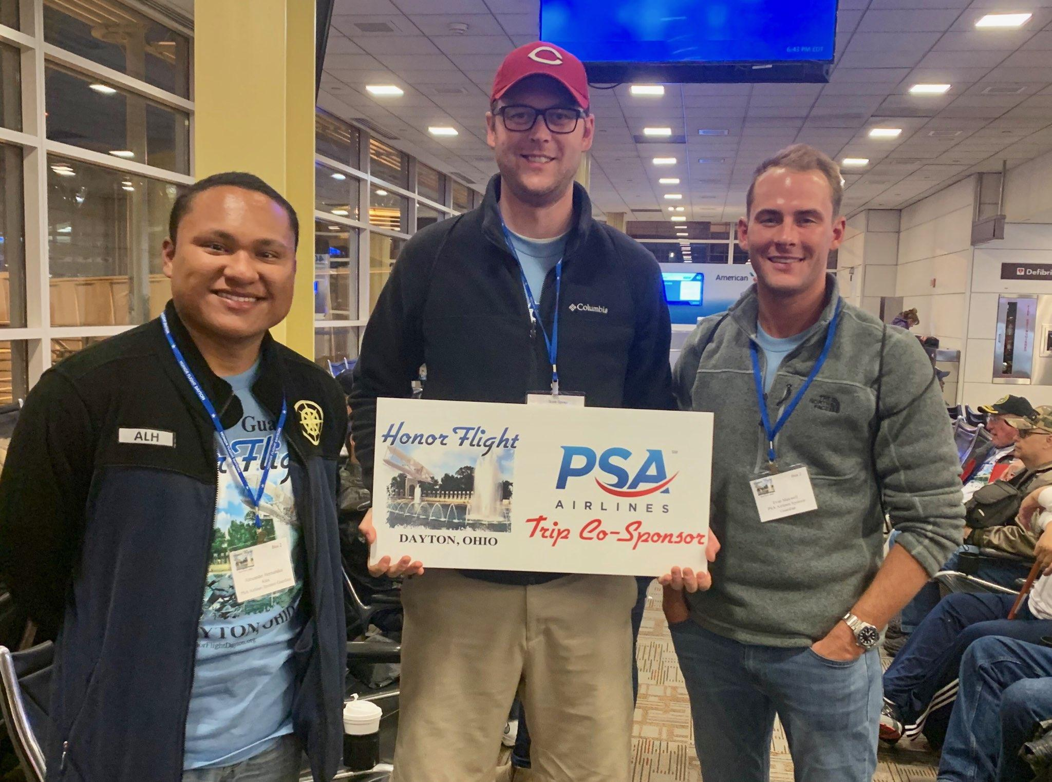 PSA Team Members Assisting at Honor Flight Dayton - (Left to Right: FA Alexander Hernandez, CA Scott Spires, CA Evan Maxwell)